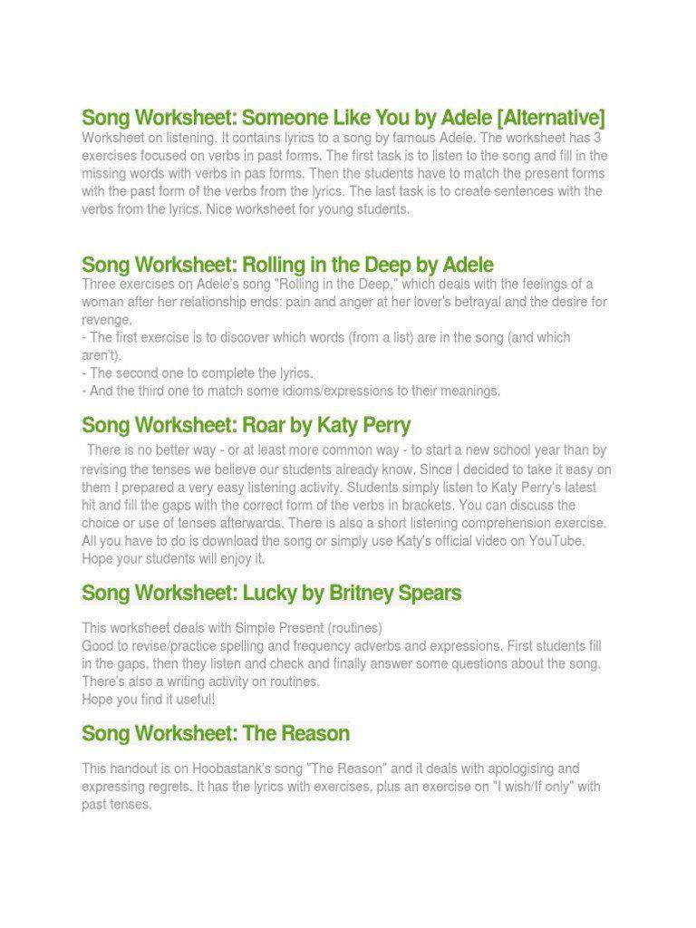 Writing Song Lyrics Worksheet Song Worksheets Idiom Cursive Writing Worksheets Song Lyrics Lyrics