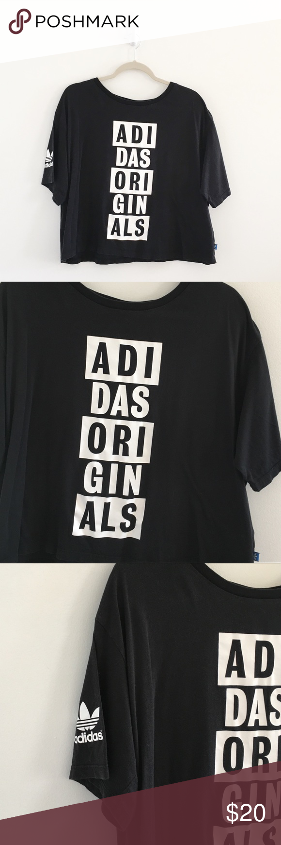 e18047b36 Adidas Originals Black Crop Graphic Tee Adidas Originals AO Black Graphic  Crop Tee size large.