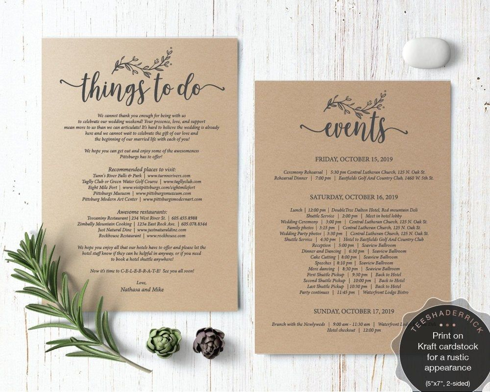 Wedding Itinerary Things To Do Card Template Pdf File Wedding Event Items Place To Visit Favo Wedding Itinerary Wedding Memory Table Sign Bar Menu Wedding