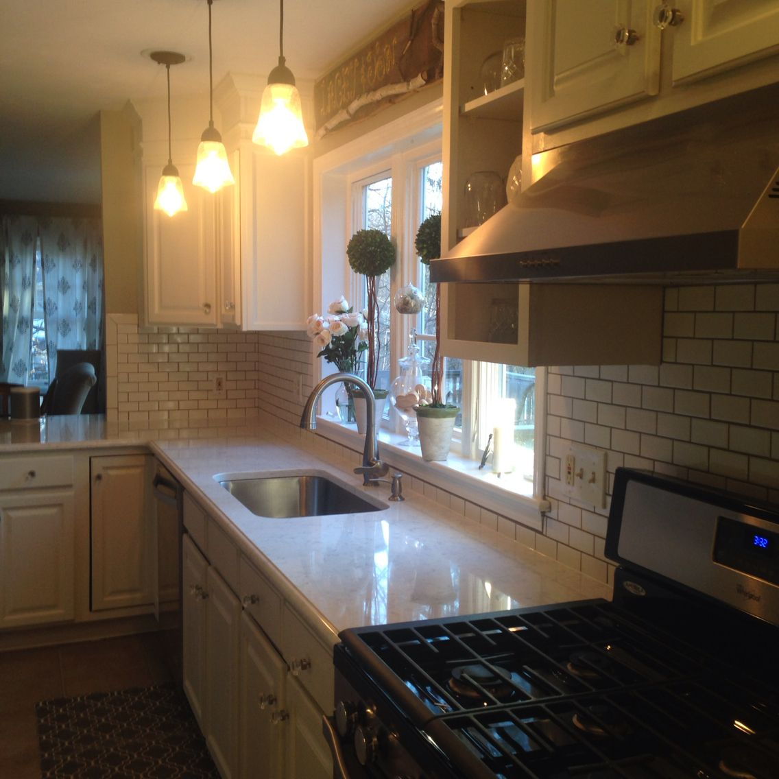 My White Kitchen Dreams Have Come True! Viatera Minuet Quartz Countertops  And 2x4 White Subway