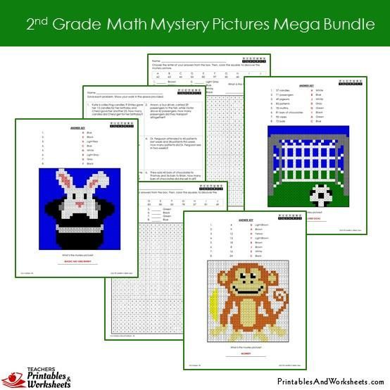 Math Mystery Worksheet: 2nd Grade Math Mystery Pictures Coloring Worksheets Mega