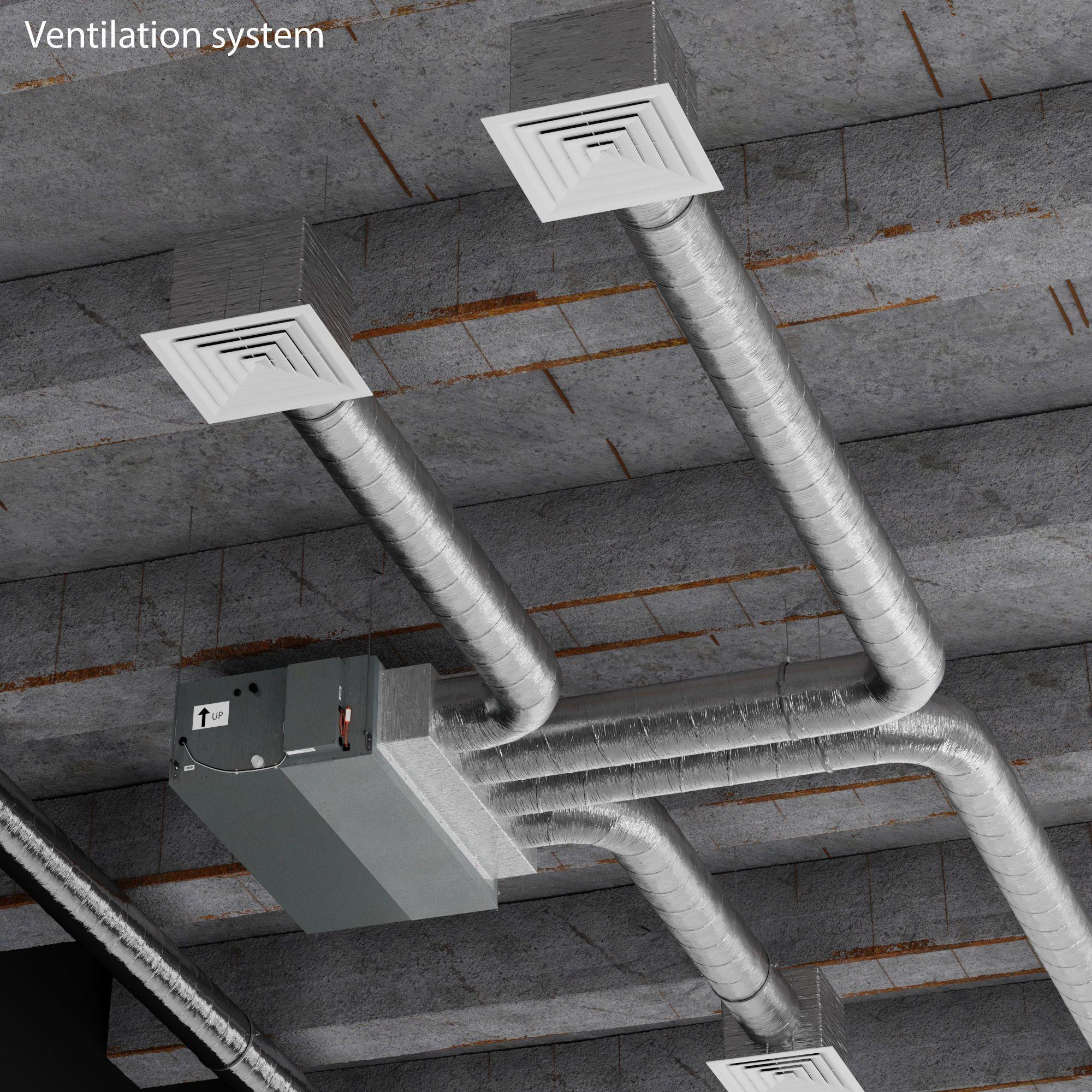 Ceiling Ventilation System 3d Model Ventilation Design Ventilation System Hvac Design