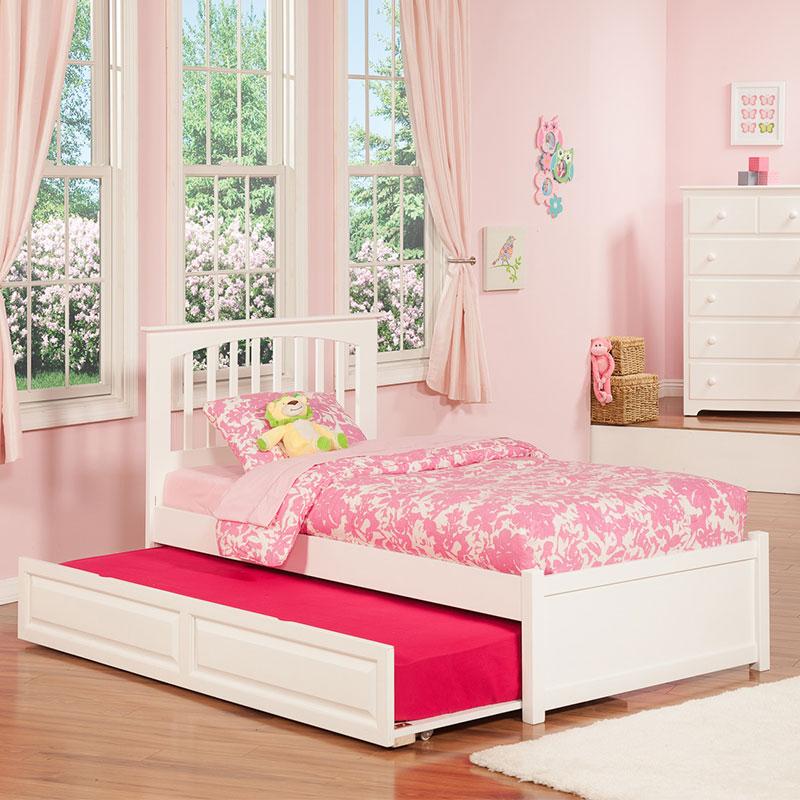 Atlantic Brooklyn Twin Bed Flat Panel Footboard & Raised