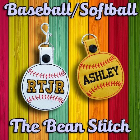 Embroidery Machine Download Design File Softball Baseball Two