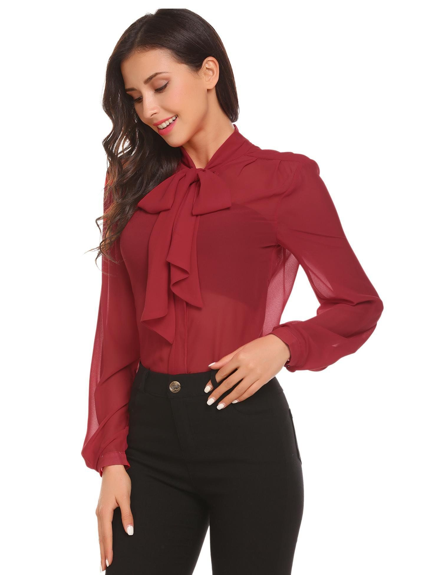 1b68799e404515 Zeagoo Women Red Bow Tie Chiffon Blouse See Through Work Business Shirt  TopsMedium3wine Red >>> For more information, visit image link.