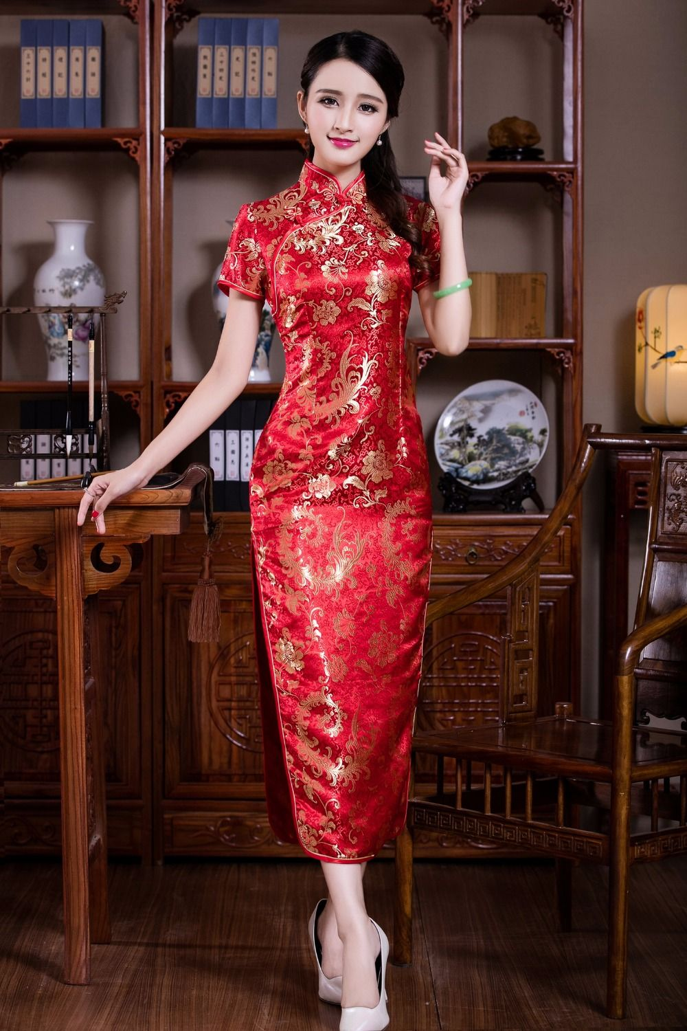 Cheap long qipao red 12fb040b8cfa