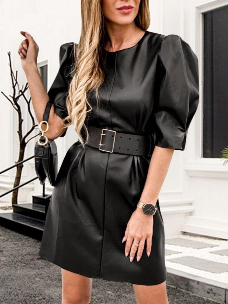 Best Of Instagram Fashion Elegant Black Mini Leather Dress Mini Black Dress Women S Sash Fashion [ 1066 x 800 Pixel ]