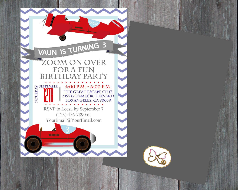 Printable Car/Plane Invitation/ Boy Birthday Invitation/Vintage ...