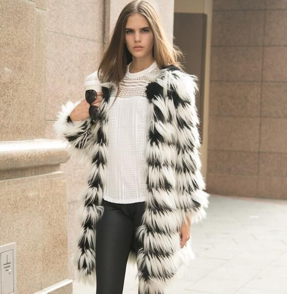 Womens Plaid Faux Fur Winter Outwear Jacket Tassels M Loose Parka Coats Overcoat