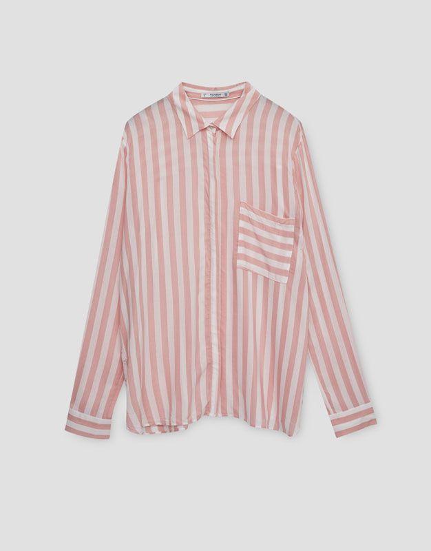 Long sleeve printed shirt - Blouses & shirts - Clothing - Woman - PULL&BEAR Israel