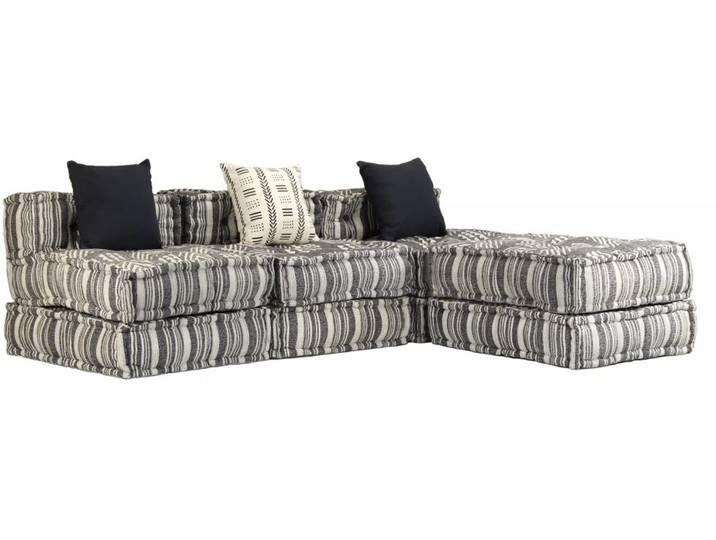 Vidaxl 3 Sitzer Modulares Schlafsofa Stoff Gestreift Home Decor