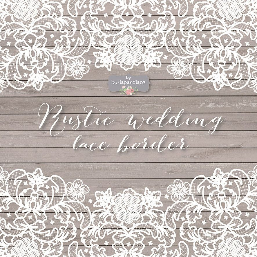 VECTOR Lace Border Rustic Wedding Invitation 1burlapandlace