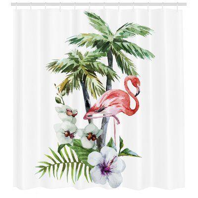 East Urban Home Flamingo Shower Curtain Set Hooks Gambar