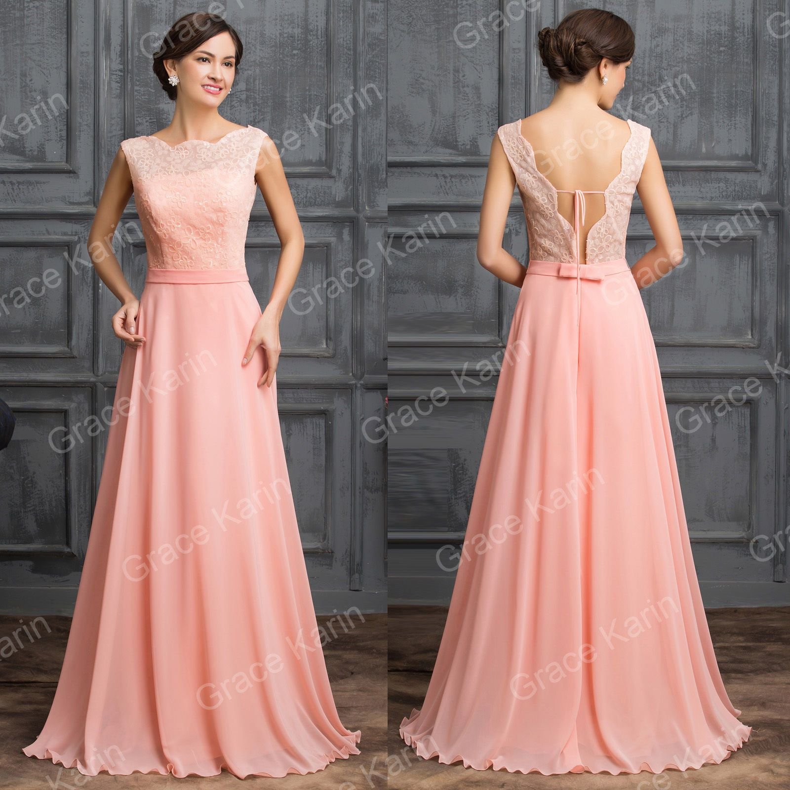 Women lace formal long homecoming bridesmaid wedding prom light pink