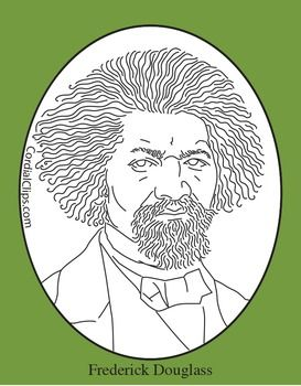Frederick Douglass Clip Art Coloring Page Or Mini Poster Black History Month Art Black And White Lines Clip Art