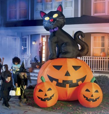 12-Foot Black cat with 3 Jack 0 Lanterns (Inflatable) HALLOWEEN - halloween ideas for 3