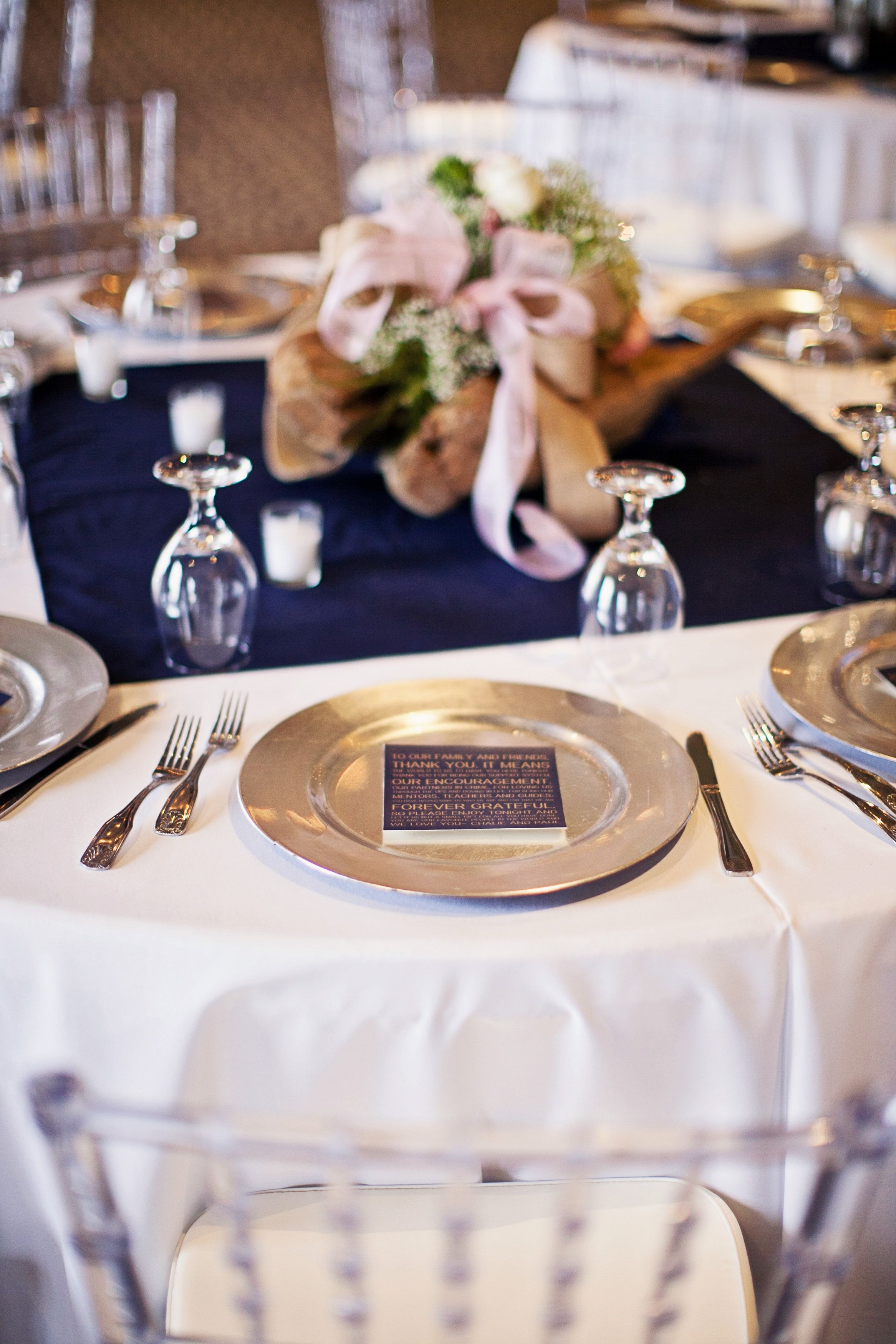 Wedding reception table design Blush Navy color scheme using