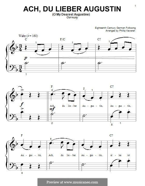 Ach Du Lieber Augustin O My Dearest Augustine Sheet Music