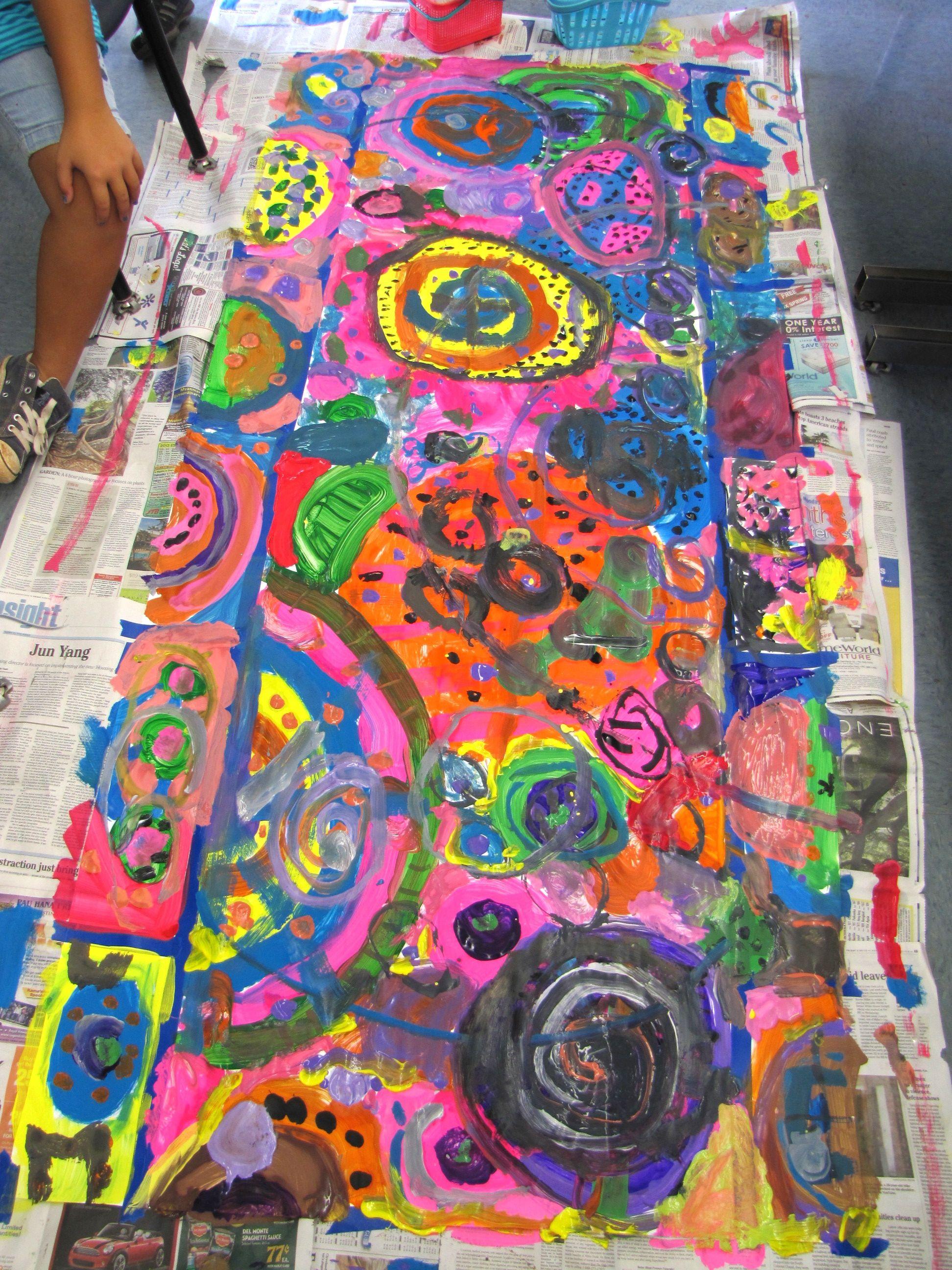 Collaborative circle painting.