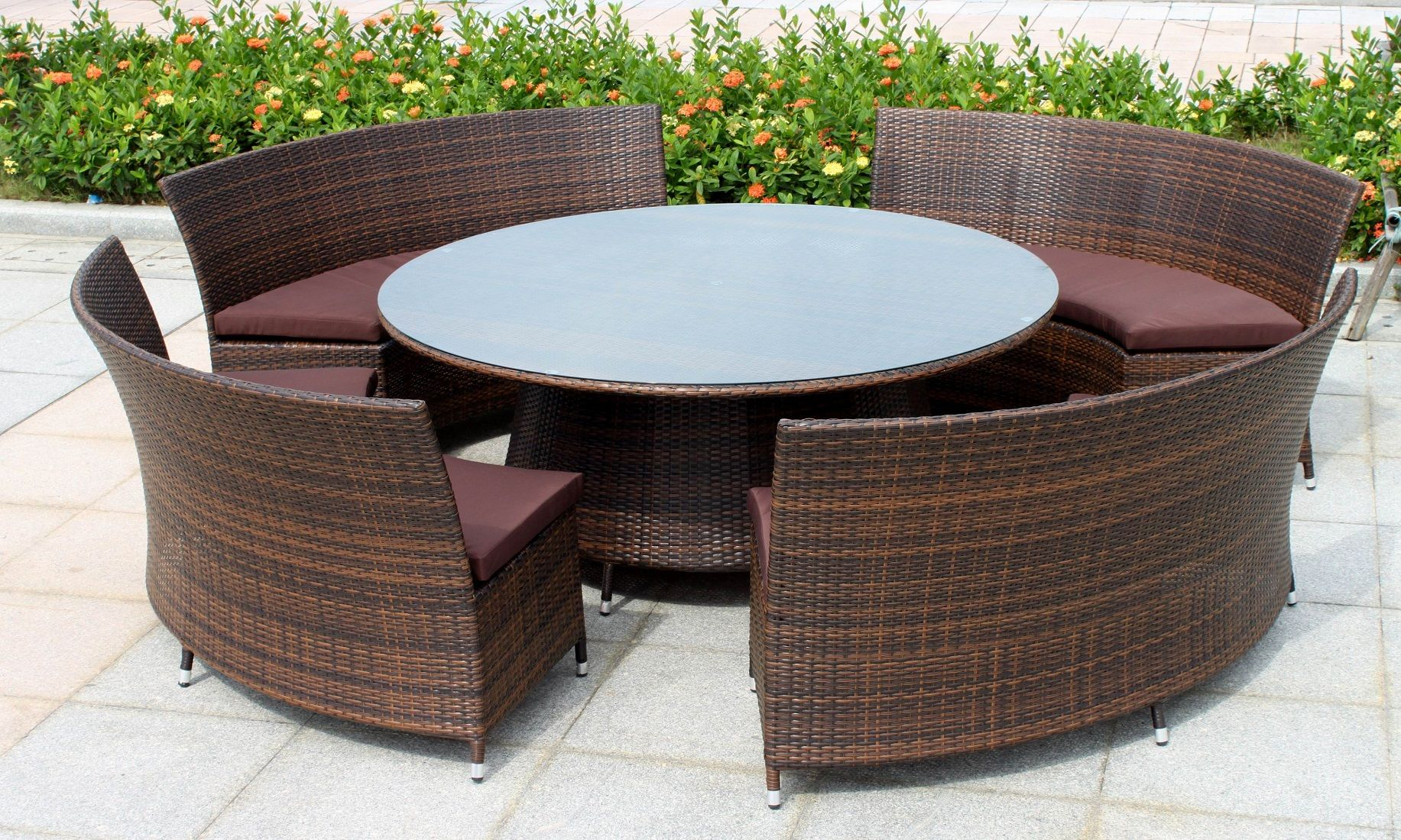 Furnitures   Fantastic Big Round Wicker Patio Furniture With Brown     Furnitures   Fantastic Big Round Wicker Patio Furniture With Brown Cushions  Above Stone Floor Around Flowers