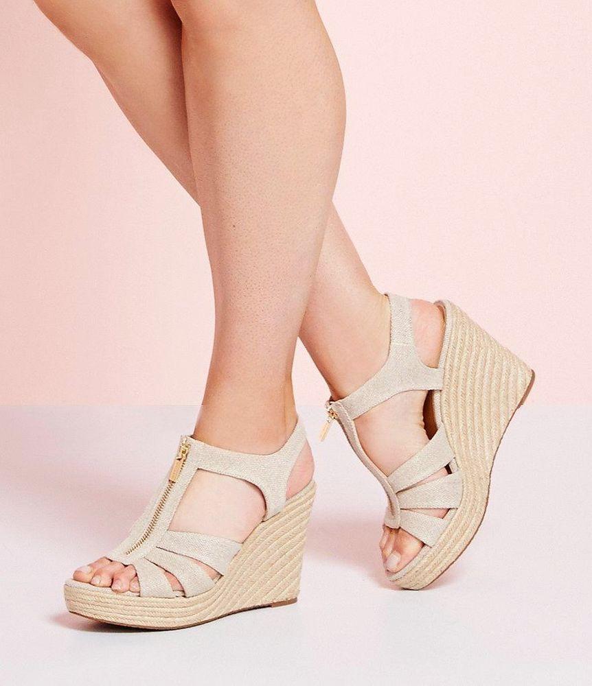 40c85e95c039 Michael Kors Berkley Platform Wedge Sandals Natural Size 10M #MichaelKors  #PlatformsWedges