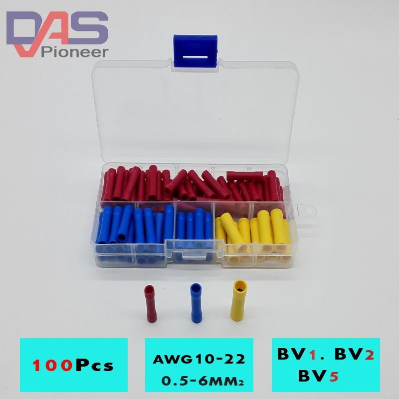 100pcs BV1 BV2 BV5 Terminator wire connector Butt Connectors ...