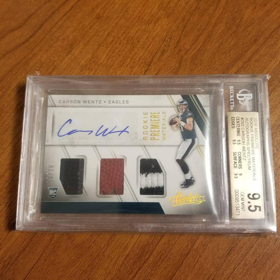 Carson Wentz Auto Rookie Triple Relic/10 BGS 9.5 Gem Mint 2016 Panini Absolute  #carsonwentz #wentzelvania #philly #phillyphilly #eaglecountry #eagles #philadelphia #philadelphiaeagles #panini #nfl #bgs #beckett #gemmint #auto #autograph #faithinfoles #flyeaglesfly #thehobby #whodoyoucollect @cj_wentz11