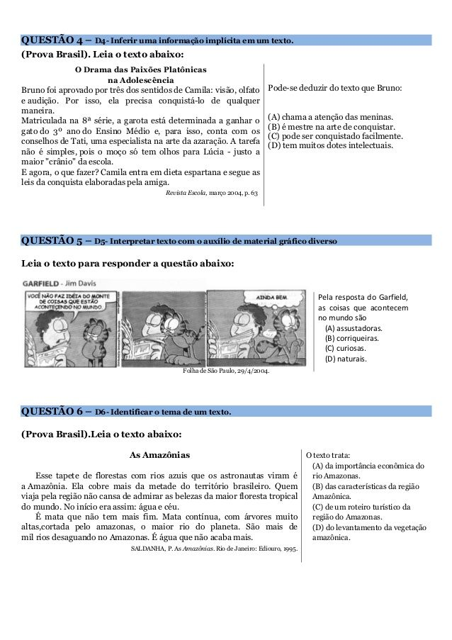 Prova De Lingua Portuguesa Conforme Descritores Da Prova Brasil