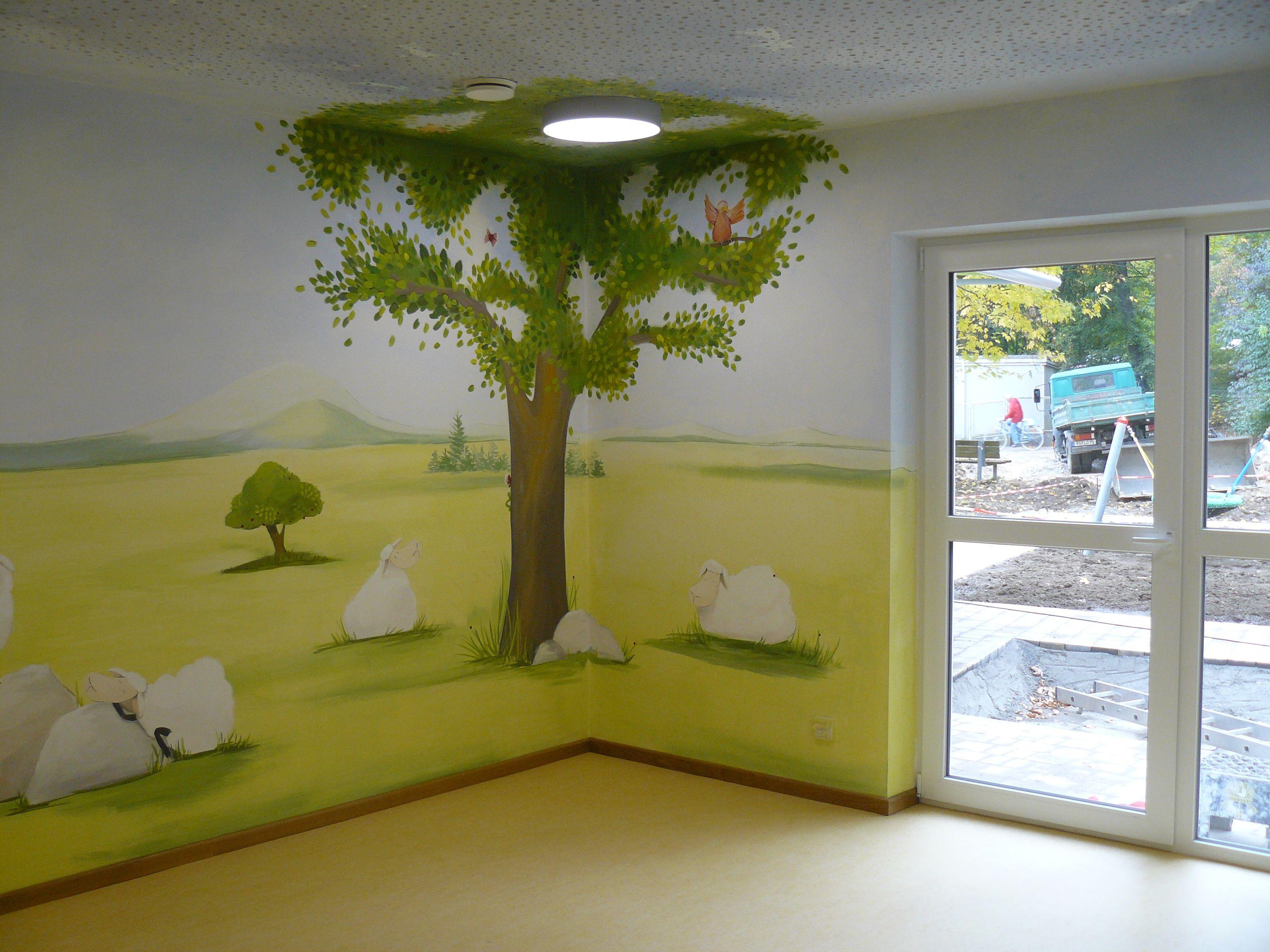 Carola Sommer❤Malerei Wände Kinderzimmer Schafe Bäume Kindergarten ...