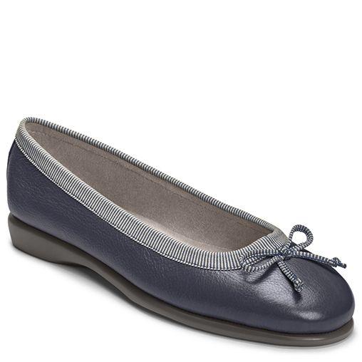 Teashop Leather Bow Tie Studded   Women's Shoes Flats   Aerosoles