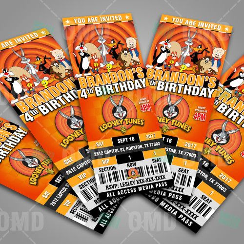 Looney Tunes Ticket Style Birthday Birthday cartoon and Birthdays