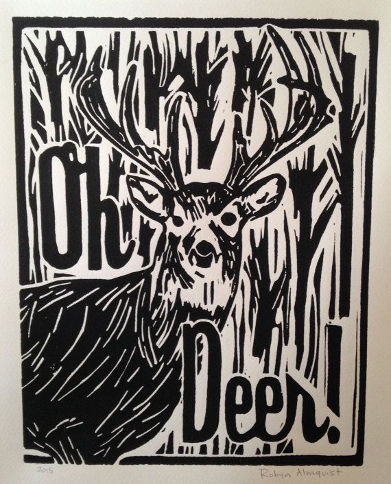 Hand carved and hand printed linoleum block print on paper