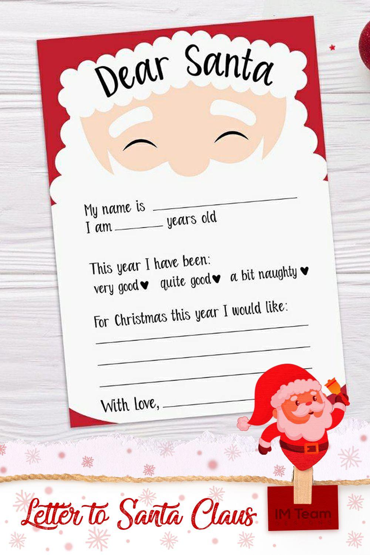 Letter to Santa Christmas Wish List Printable Santa Letter | Etsy