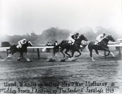 Upset defeats Man O' War in the 1919 Sanford. The loss would be the only defeat of Big Red's career.