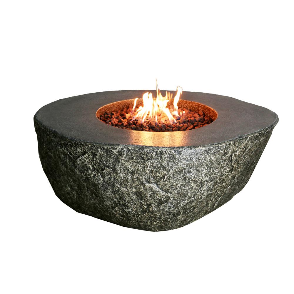 Modeno 50 In Eco Stone Fiery Rock Fire Pit Brown Fire Pit