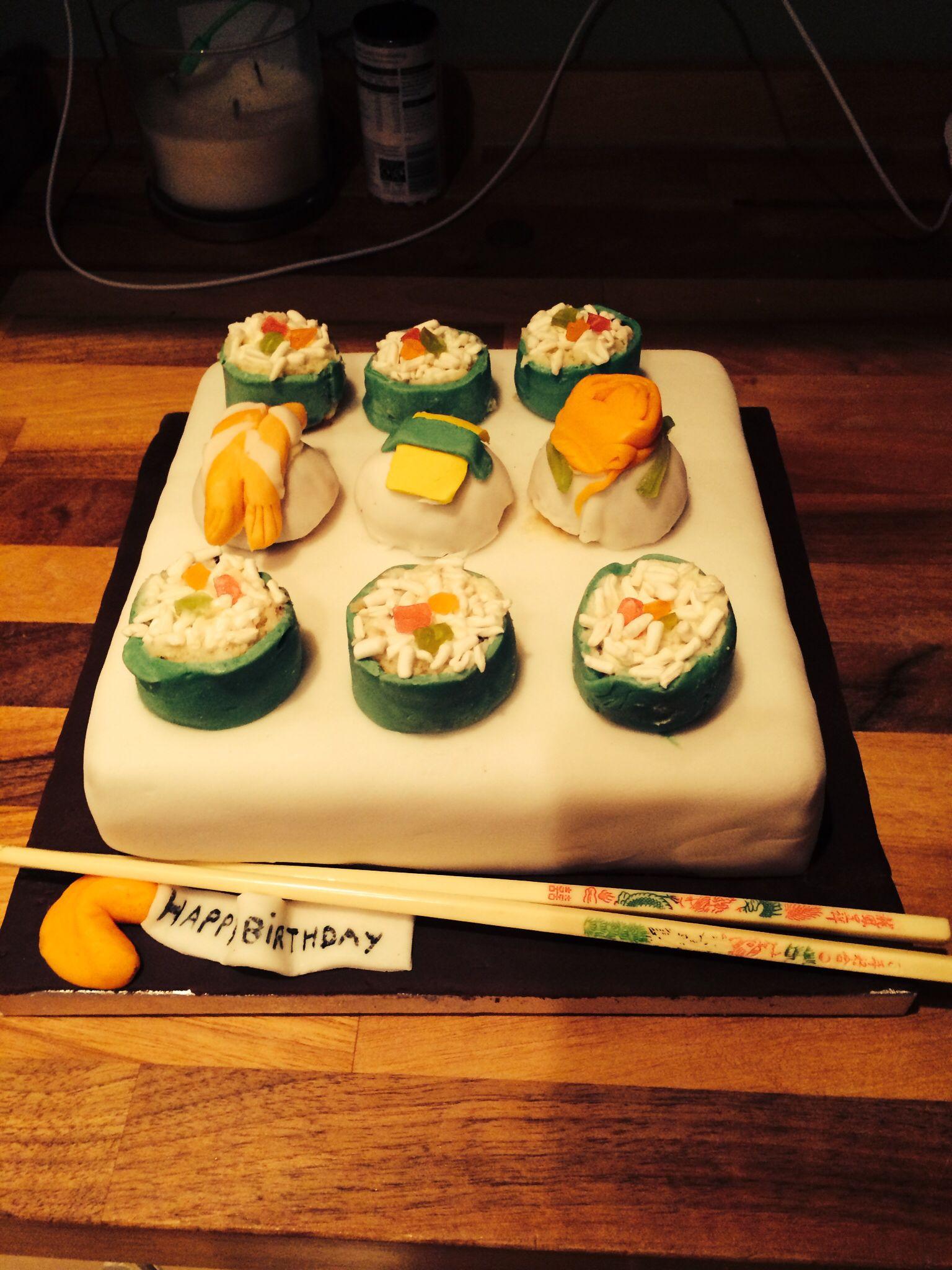 Sushi Birthday Cake By Denise Dallison Birthday Party Pinterest