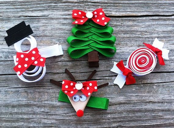 Set Of 4 Christmas Sculpture Hair Clip Set Holiday By Leilei1202 11 25 Christmas Bows Christmas Hair Bows Holiday Hair Clips