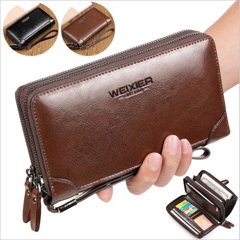Men Casual Business Men Long Solid Card Coin Position Purses Clutch Wallet