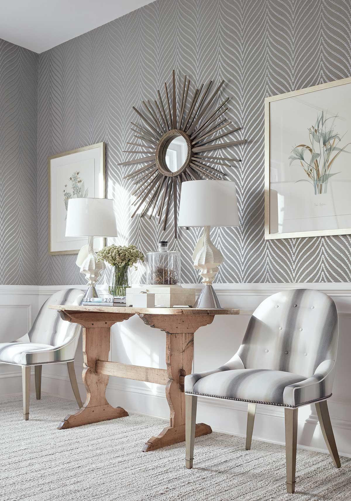 Clayton Herringbone Wallpaper In Grey Amp Silver Thibaut Designer Wallpa Modern Wallpaper Living Room Accent Walls In Living Room Grey Wallpaper Living Room Living room accent wallpaper