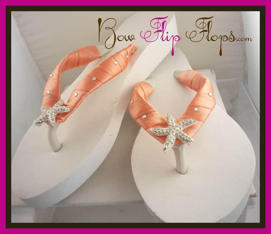 83fa316bec270f Starfish Wedding Flip Flops Wedge Bridal Ivory White Bride Platform  Rhinestone Satin Swarovski Flip Flops in Peach