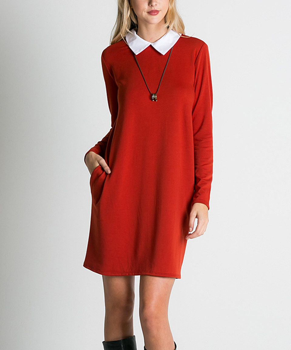Another Great Find On Zulily Rust Peter Pan Collar Shift Dress By Miracle Berry Zulilyfinds Fashion Shift Dress Dresses [ jpg ]