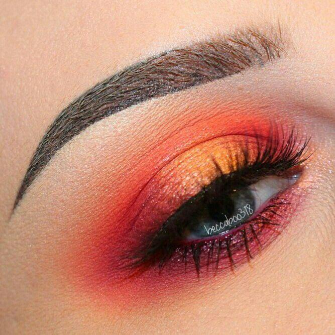 Neon Orange Eye Makeup Eyes Eye Makeup Bright Bold Dramatic Orange Eye Makeup Dramatic Eye Makeup Bold Eye Makeup