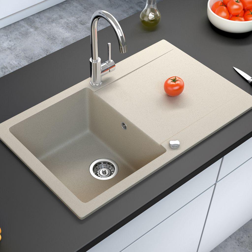 Granitspüle Küche Einbauspüle eckig glatt Spülbecken mit
