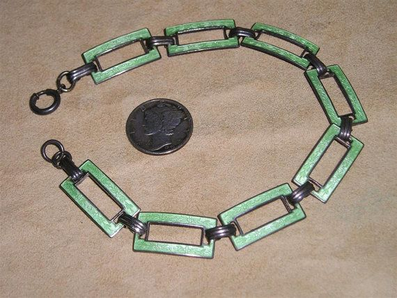 Vintage Sterling Silver Art Deco Bracelet Link Green Guilloche 1920's Signed Jewelry 7089
