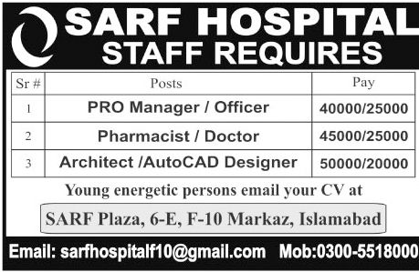 SARF Hospital Jobs 2017 In Islamabad For Manager And Doctors   - anti terrorism officer sample resume