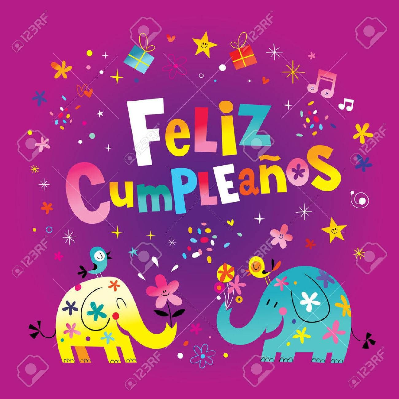 Feliz Cumpleanos Happy Birthday In Spanish Greeting Card With Cute