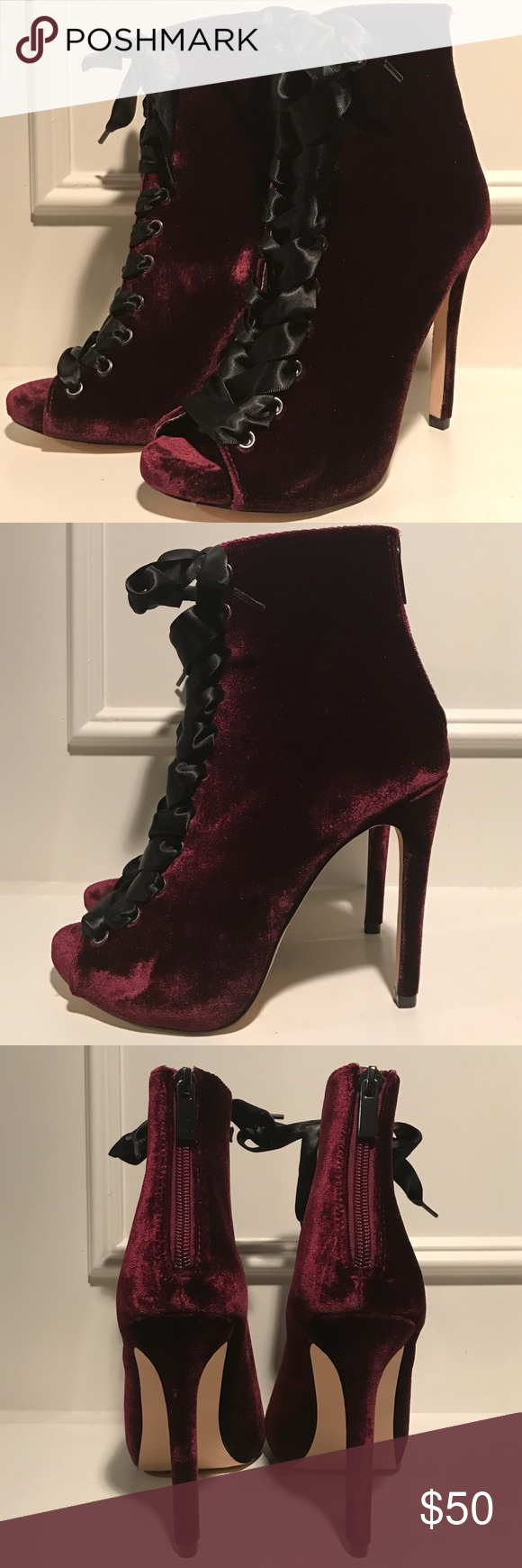 58355976a714 Steve Madden Velvet Lace Up Booties NEW Size 5.5 Pretty velvet booties