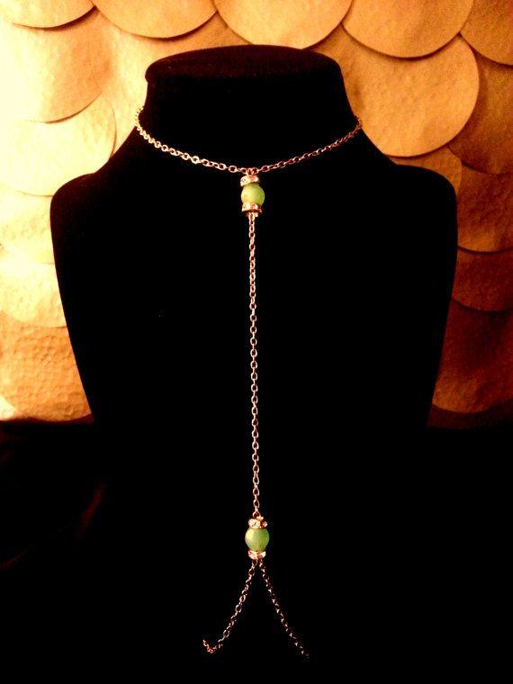 Orange Stone Lariat Necklace by KoreisKreations on Etsy