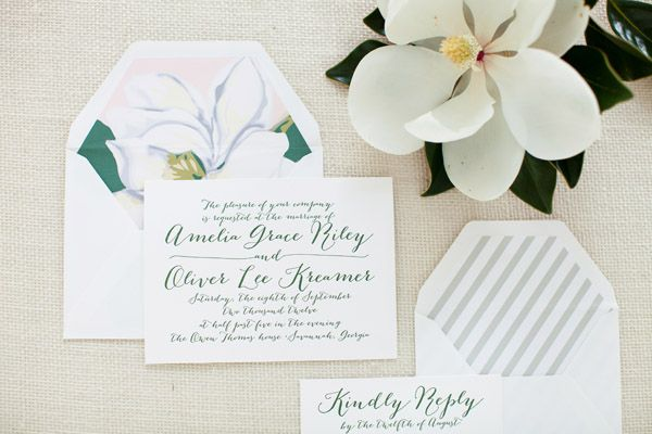 Southern wedding magnolia envelope liner I love the calligraphy