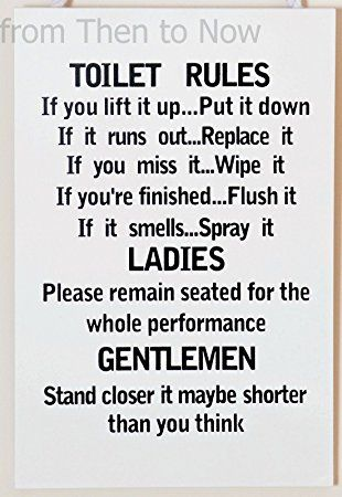 Leonardo Unique Toilet Rules Novelty Hanging Bathroom White Plaque,Funny Wooden Sign for Wall or Door